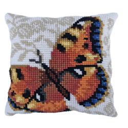 Cushion cross stitch kit Umber Butterfly - Needleart World