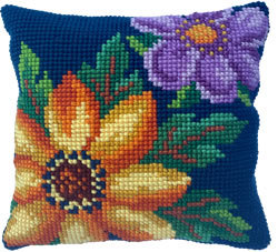 Cushion cross stitch kit Evening Bloom - Needleart World