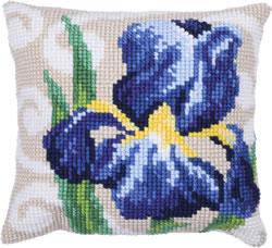 Cushion cross stitch kit Blue Iris - Needleart World