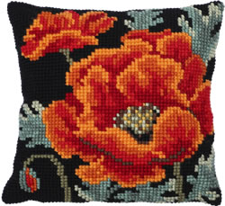 Cushion cross stitch kit Poppy Bloom - Needleart World