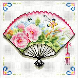 Pre-printed cross stitch kit Rose Fan - Needleart World