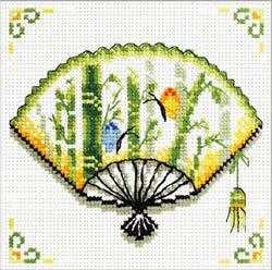 Pre-printed cross stitch kit Bamboo Fan - Needleart World