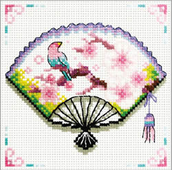 Pre-printed cross stitch kit Cherry Blossom Fan - Needleart World