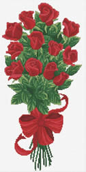Pre-printed cross stitch kit Bouquet of Red Rose Buds - Needleart World