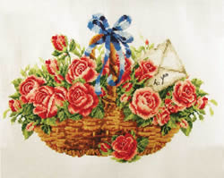 Pre-printed cross stitch kit Basket of Roses - Needleart World