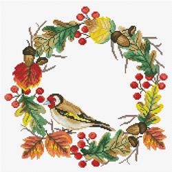 Pre-printed cross stitch kit Autumn Wreath - Needleart World