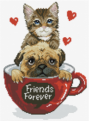 Pre-printed cross stitch kit Friends Forever - Needleart World