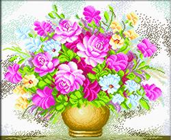 Pre-printed cross stitch kit Vase of Flowers - Needleart World