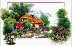 Pre-printed cross stitch kit English Cottage Lane - Needleart World