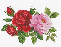 Pre-printed cross stitch kit Rose Bouquet - Needleart World