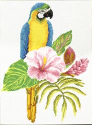 Pre-printed cross stitch kit Hibiscus Macaw - Needleart World