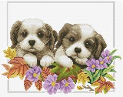Pre-printed cross stitch kit Peeking  Pups - Needleart World