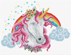 Pre-printed cross stitch kit Rainbow Unicorn - Needleart World