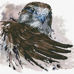 Pre-printed cross stitch kit Falcon Salute - Needleart World