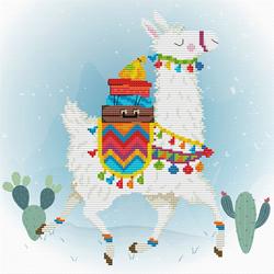 Pre-printed cross stitch kit Holiday Lama - Needleart World