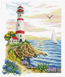Pre-printed cross stitch kit Lighthouse Cape - Needleart World