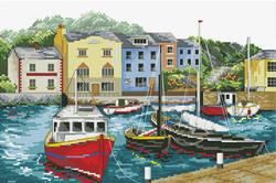 Pre-printed cross stitch kit Fishing Village - Needleart World