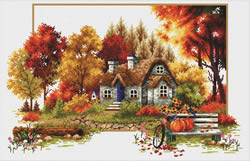 Voorbedrukt borduurpakket Autumn Cottage - Needleart World