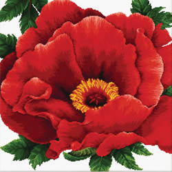 Pre-printed cross stitch kit Peony - Needleart World