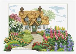 Pre-printed cross stitch kit Foxglove Cottage - Needleart World