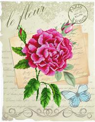 Pre-printed cross stitch kit Rose Bloom - Needleart World