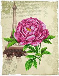 Pre-printed cross stitch kit Romantic Rose - Needleart World