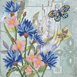 Pre-printed cross stitch kit Cornflower Field - Needleart World