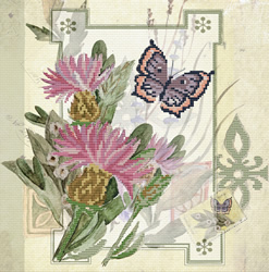 Pre-printed cross stitch kit Thistle Bouquet - Needleart World
