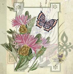 Voorbedrukt borduurpakket Thistle Bouquet - Needleart World