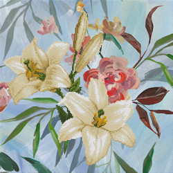 Pre-printed cross stitch kit Wild Lilly Bouquet - Needleart World