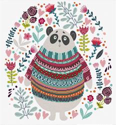 Pre-printed cross stitch kit Panda Couture - Needleart World