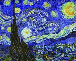 Pre-printed cross stitch kit Starry Night (apres Van Gogh) - Needleart World