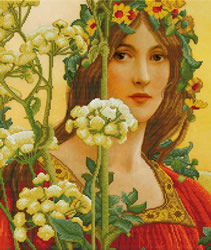Pre-printed cross stitch kit Our lady of cow parsley (Elisabeth Sontel) - Needleart World
