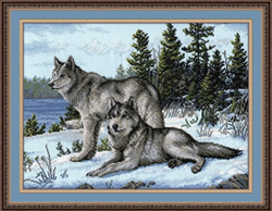 Cross stitch kit Wolfs  - Oven