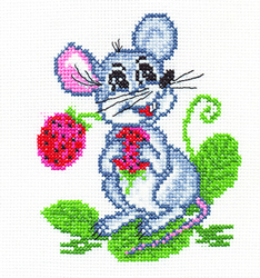 Cross Stitch Kit Mouse with Strawberries - PANNA