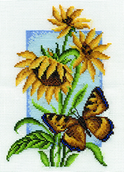 Cross Stitch Kit Butterfly with Flower - PANNA