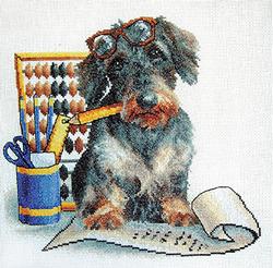 Cross Stitch Kit Writing Dog - PANNA