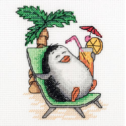 Cross stitch kit Penguin on Holiday - PANNA