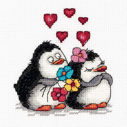 Cross stitch kit Penguins in Love - PANNA
