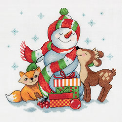 Cross stitch kit Snowman with Gifts - PANNA