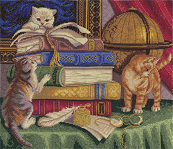 Cross Stitch Kit Kittens with Books - PANNA