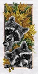 Cross Stitch Kit Curious Raccoons - PANNA