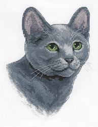 Cross Stitch Kit Russian Blue Cat - PANNA
