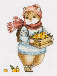 Cross stitch kit Hamster and Mandarins - PANNA