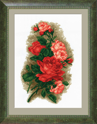 Pre-printed Cross Stitch Kit Red Roses - PC-Studia