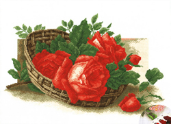Pre-printed Cross Stitch Kit Roses in a Basket - PC-Studia