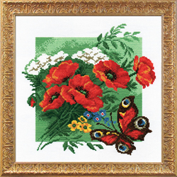 Pre-printed Cross Stitch Kit Poppies with Butterfly - PC-Studia