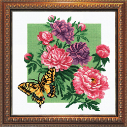 Pre-printed Cross Stitch Kit Peonie with Butterfly - PC-Studia