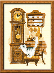 Borduurpakket Cat with Clock - RIOLIS