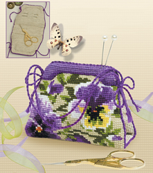 Cross Stitch Kit Pansy pincushion/Bag - RIOLIS